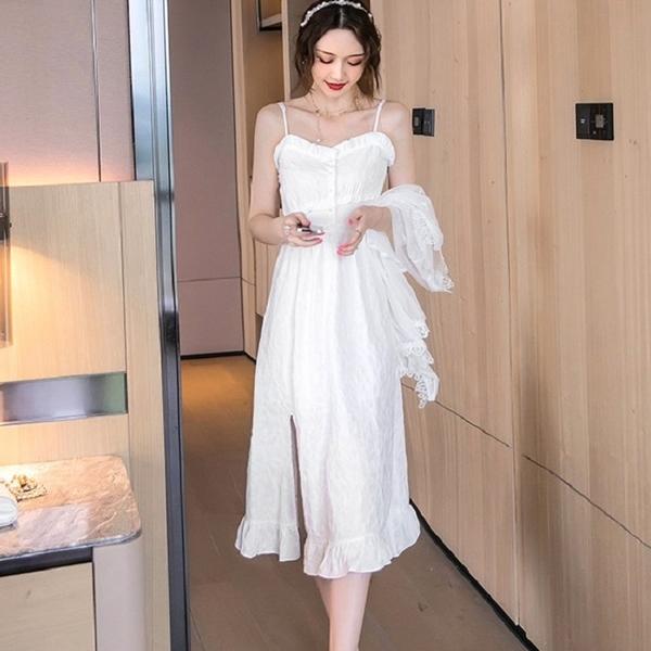 風情萬種美胸側開岔細肩帶連身洋裝兩件套(白薄紗罩衫+白細肩帶裙)[99207-QF]美之札