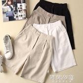 棉麻短褲 棉麻短褲女新款夏季亞麻褲子寬鬆高腰顯瘦大碼闊腿休閒五分褲 阿薩布魯