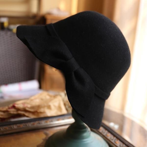 克拉戀人高雯迪麗熱巴同款帽子明星同款帽羊毛呢帽蝴蝶結 帽子女1入