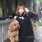 2018夏季新款女裝韓版學生日系中長款小清新蝴蝶結蕾絲長袖洋裝     泡芙女孩輕時尚