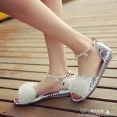 甜美少女中空串珠一字帶平底涼鞋女學生羅馬時尚百搭水晶鑽鞋夏季 提拉米蘇