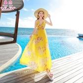 波西米亞長裙海邊度假v領女雪紡大擺連身裙子 ☸mousika