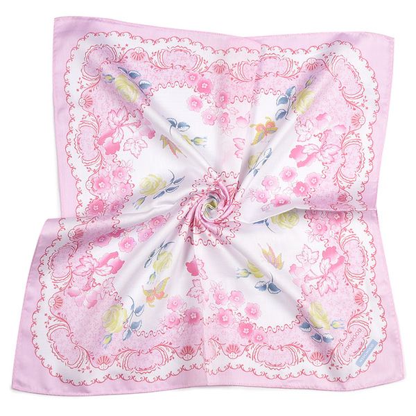 WEDGWOOD蝴蝶玫瑰印花純綿帕領巾(粉紅色)989219-76
