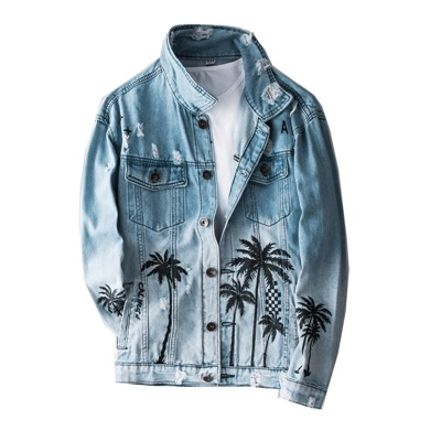 牛仔外套-熱帶椰子樹印花寬鬆男丹寧夾克2色73wu15[時尚巴黎]