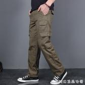 純棉休閒褲男寬鬆直筒多口袋工裝褲男長褲春秋加絨戰術 【快速出貨】