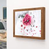 石畫鐘表玫瑰花卉點貼十字繡客廳臥室石繡掛鐘時鐘5D餐廳WY萬聖節