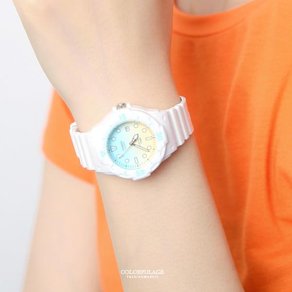 CASIO卡西歐 黃綠雙色漸層休閒運動腕錶 清爽有型手錶 膠錶【NEC41】