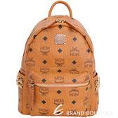 MCM Stark 品牌圖騰側金鉚釘設計後背包(Mini/棕色) 1710805-B3