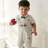 吊帶褲 卡通圖案 休閒 男寶寶 女寶寶 連身衣 爬服 哈衣 Augelute Baby 42064