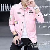 牛仔外套牛仔外套男韓版潮流青少年休閒學生夾克百搭帥氣上衣 果果輕時尚
