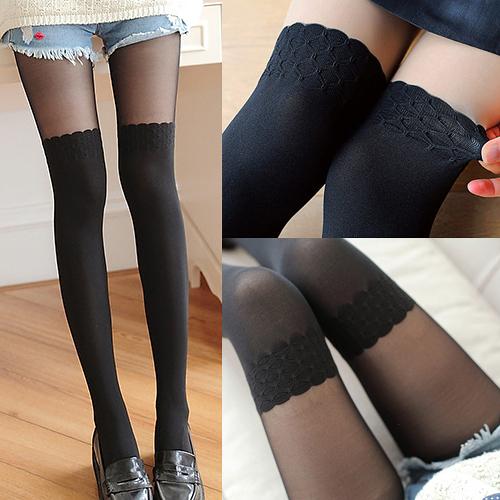 唐朵拉 膚色 黑色 熱銷日版韓系蕾絲雕花修飾美腿超顯瘦透氣輕薄膝上假大腿/貼身褲襪 (215)
