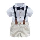 花童禮服 男童春夏藍色領結背帶褲寶寶短袖紳士禮服中小童花童洋氣抓周服潮 瑪麗蘇