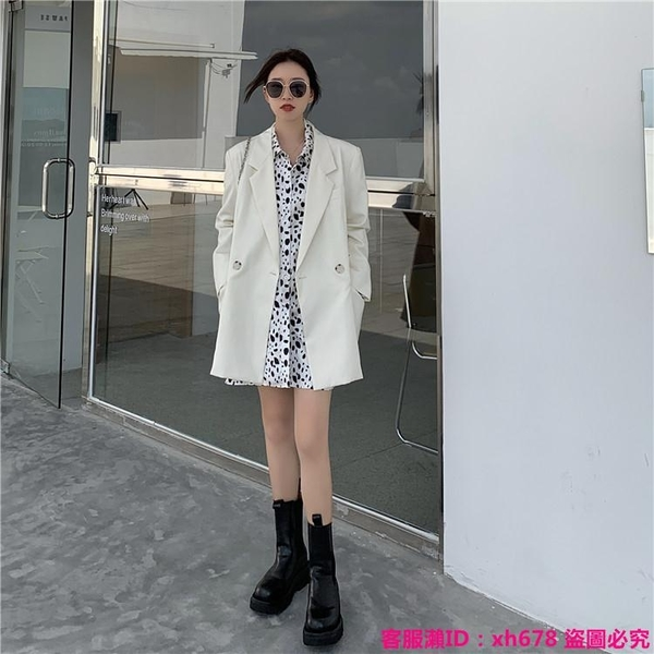 中大尺碼外套 秋季韓版新款寬松時尚大版鹽系薄款中長款白色長袖西裝外套女
