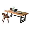 書桌簡約現代美式實木電腦桌會議桌餐桌長桌寫字台桌子台式辦公桌xw