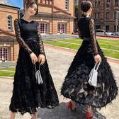 長洋裝 長袖蕾絲拼接羽毛 韓版 婚禮小禮服 派對連身裙 花漾小姐【預購】