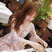 2019春季韓版V領雪紡碎花連身裙小個子收腰顯瘦少女粉色短裙子夏      橙子精品