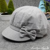 貝雷帽 秋冬季中老年女帽韓版八角貝雷帽子中年人薄款棉布媽媽短簷化療帽 瑪麗蓮安