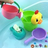 兒童洗澡戲水玩具寶寶嬰兒洗頭杯花小黃鴨玩具套裝【淘夢屋】
