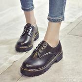 牛津鞋 中跟休閒圓頭小皮鞋英倫低幫鞋厚底