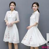 時尚套裙女新款韓版復古寬松中長刺繡五分袖兩件套連身裙