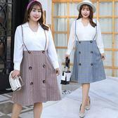 中大尺碼~時尚格子假兩件長袖洋裝(XL~4XL)