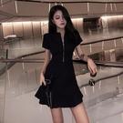 夜店洋裝 夜店性感女裝2021夏季新款赫本風小黑裙小心機修身顯瘦拉鏈連身裙 晶彩