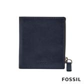 FOSSIL PHILLIP 真皮拉鍊零錢袋兩折短夾-海軍藍 ML4026400