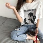 【狐狸跑跑】夏新款情侶圖案印花T恤短袖字母寬版體恤上衣女T57193
