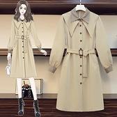 大尺碼斗篷 秋冬洋氣時尚連衣裙大碼女裝新款冬裝胖妹妹顯瘦減齡風衣外套