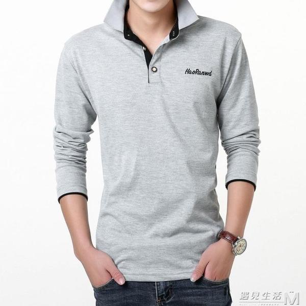 春秋男士長袖t恤襯衫大碼寬鬆翻領polo衫棉衣服男裝帶領子商務T恤 雙十二全館免運
