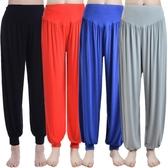 瑜伽服瑜伽褲子夏薄款莫代爾燈籠褲女運動瑜伽褲舞蹈服裝大碼長褲 米娜小鋪