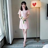 服新款粉色姐妹團中式禮服短款裙姐妹裙小禮服女「千千女鞋」