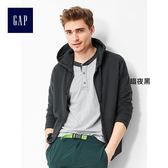 Gap男裝-舒適毛圈布拉鏈連帽休閒外套 523039-暗夜黑