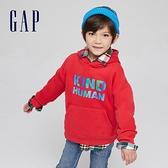 Gap男童 創意字母印花刷毛連帽休閒上衣 656233-紅色