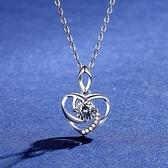 莫桑鑽項鍊-0.5ct心形幾何線條925純銀女吊墜73yk110{附GRA證書}【時尚巴黎】