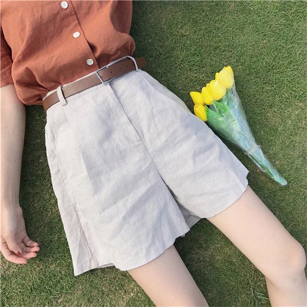 [協貿國際]復古風高腰顯瘦純色寬松  休閑五分褲 中褲1入