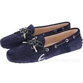 TOD'S Gommino 新版字母麂皮休閒豆豆鞋(女鞋/黑夜藍) 1830498-61
