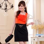 中大尺碼~OL優雅小禮服短袖洋裝(S~3XL)