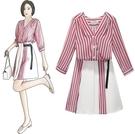 出清388 韓國風豎條紋襯衫短裙時尚休閒套裝長袖裙裝