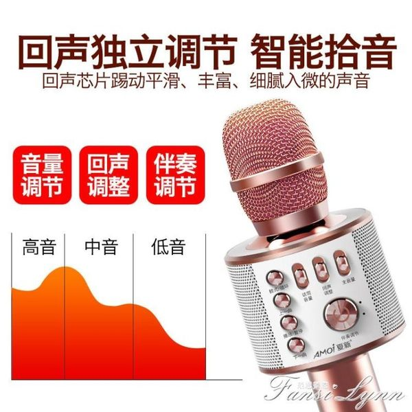 Amoi/夏新K5全民k歌手機麥克風通用無線藍芽話筒家用唱歌神器音響一體 HM 范思蓮恩