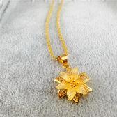 項鍊 新款仿真黃金色鎖骨鍊女花朵吊墜沙金歐幣項鍊結婚鍍金飾品不掉色【限時八五鉅惠】