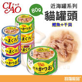 日本CIAO近海鰹魚罐93號(干貝味)80g貓咪罐頭【寶羅寵品】