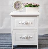 床頭櫃白色迷你臥室簡約實木床邊櫃小田園歐式儲物櫃窄收納櫃 兩抽款