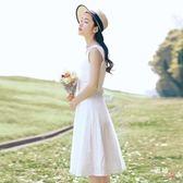 八八折促銷-2018夏新品女文藝白色連衣裙森女系學生無袖背心小白裙顯瘦清新仙