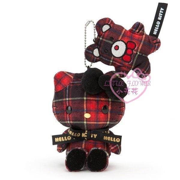♥小花花日本精品♥Hello kitty凱蒂貓和小熊黑紅格紋立體造型玩偶吊偶布偶小娃娃 50130603