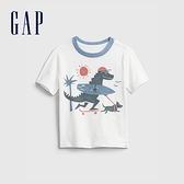 Gap男幼童 可愛恐龍印花短袖T恤 687930-白色