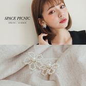 耳環 Space Picnic|預購.珍珠串珠小花耳針【C18082009】