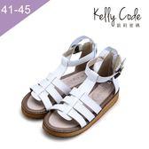 大尺碼女鞋-凱莉密碼-網狀羅馬全真皮厚底防滑平底涼鞋2.5cm(41-45)【AS666-12】白色