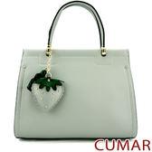 【CUMAR女包】草莓吊飾壓紋皮手提包-灰