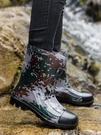 則享雨鞋男加絨中筒防水鞋冬季膠鞋防滑勞保洗車工地時尚保暖雨靴 快速出貨